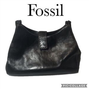 Fossil black purse double strap shoulder bag